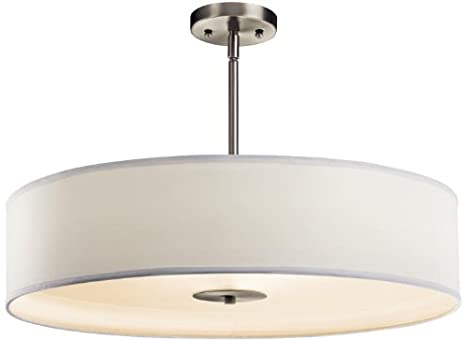 Kichler 42122NI Semi Flush Drum Pendant Lighting - Brushed Nickel 24