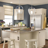 allen + roth Brushed Nickel Mini French Country/Cottage Clear Glass Bell Pendant Light