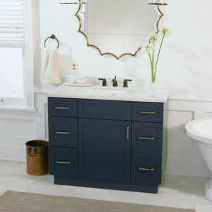 "Midnight Blue 42"" Vanity with Ceramic White Lincoln Top"