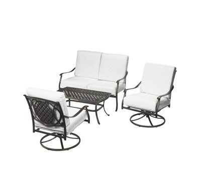 Belcourt Custom Metal 4-piece Patio Conversation Set with Bare Cushions (Model:  170HDXC470059)