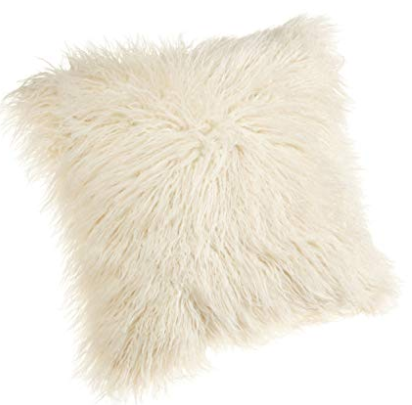 Brentwood 18-Inch Mongolian Faux Fur Pillow, White