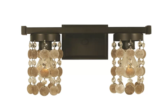 Bungalow Rose Nerys 2-Light Vanity Light in Mahogany Bronze