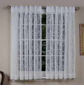 August Grove Stoltz Short Soft Butterfly Motif Classic Back Pinch Pleat Semi-Sheer Curtain (Model:  AGRV4701)