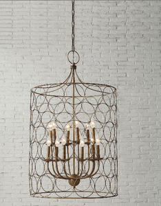 Creative Co-op Metal Chandelier with Circle Designs & 12 Lights
