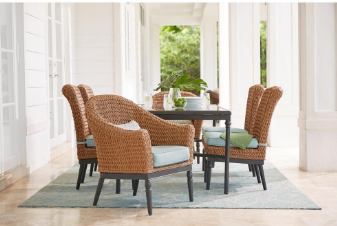 Camden Light Brown Wicker Outdoor Dining Chairs with Sunbrella Canvas Spa Cushions