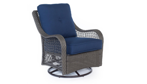 Cambridge Grey Resin Wicker Swivel Chair with Bare Cushions