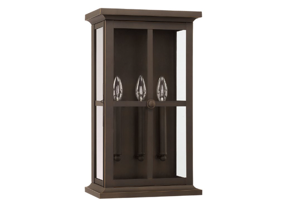 Charlton Home Hemsworth 3-light Outdoor Wall Lantern Fixture in Oiled Bronze