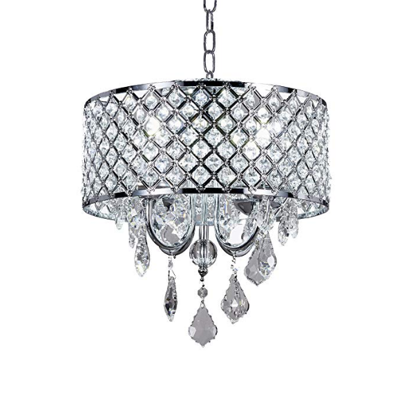Diamond Life 4-light Chrome Finish Round Metal Shade Crystal Chandelier Flush Mount Ceiling Fixture.