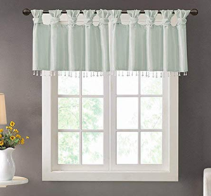 Emilia Faux Silk Valances for Windows  With Beads