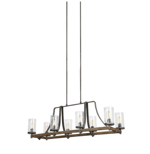 Feiss Angelo 8-Light Distressed Weathered Oak Island Chandelier (Model: F3136/8DWK/SGM)