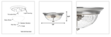 "Prominence Home 51382 Designer Series Flushmount Lighting, 13"" Seeded Glass, Low Profile"