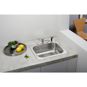 "Glacier Bay Drop-In Stainless Steel 25"" 4-Hole Single Bowl Kitchen Sink"
