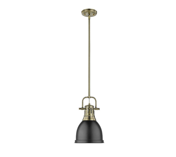 Golden Lighting Duncan 1-Light Duncan Mini Pendant (Model:03604-S-CH-BK)