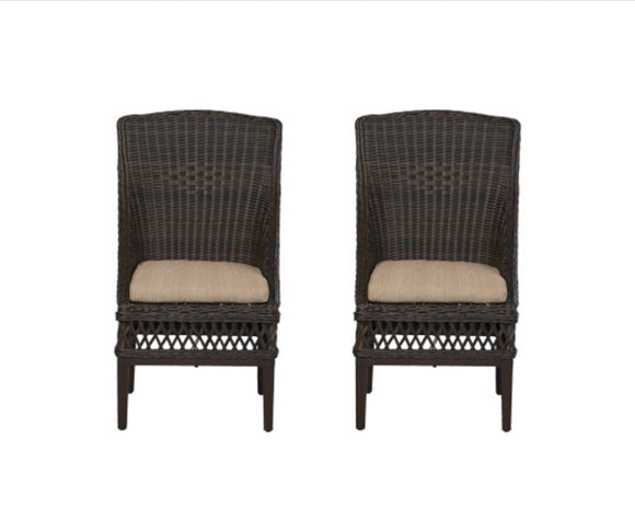 Woodbury Wicker Outdoor Patio Dining Chair with Bare Cushion (Set of 2)