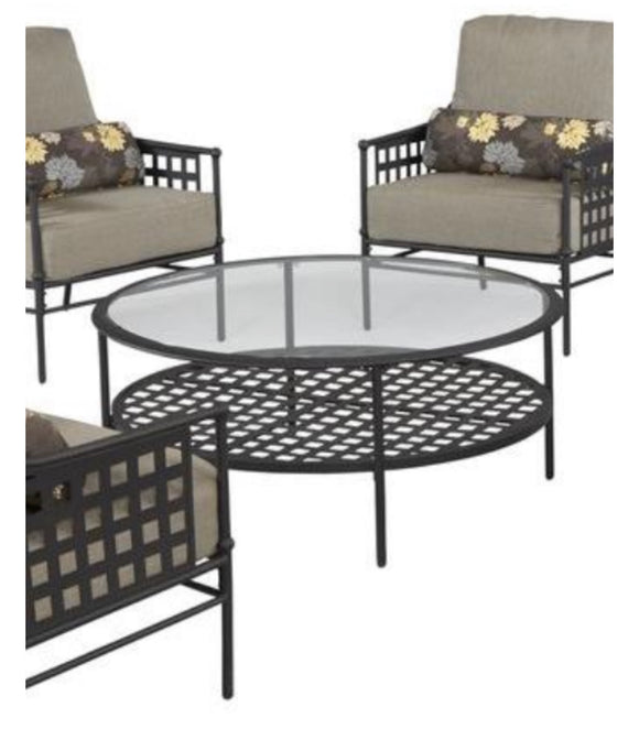 Lynnfield Glass-topped Circular Coffee Table