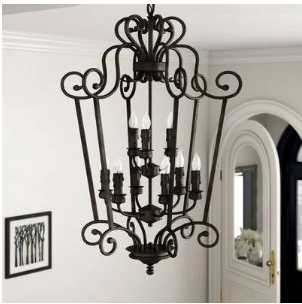 Fleur De Lis Living Elburn 9-Light Lantern Pendant (Model:  FDLL8054)