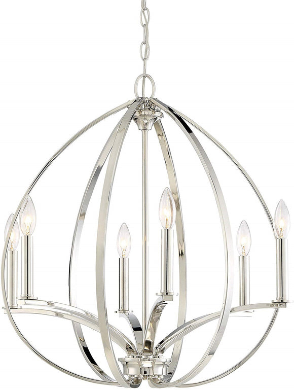Minka Lavery Tilbury 6-Light Polished Nickel Chandelier (Model:  4986-613)