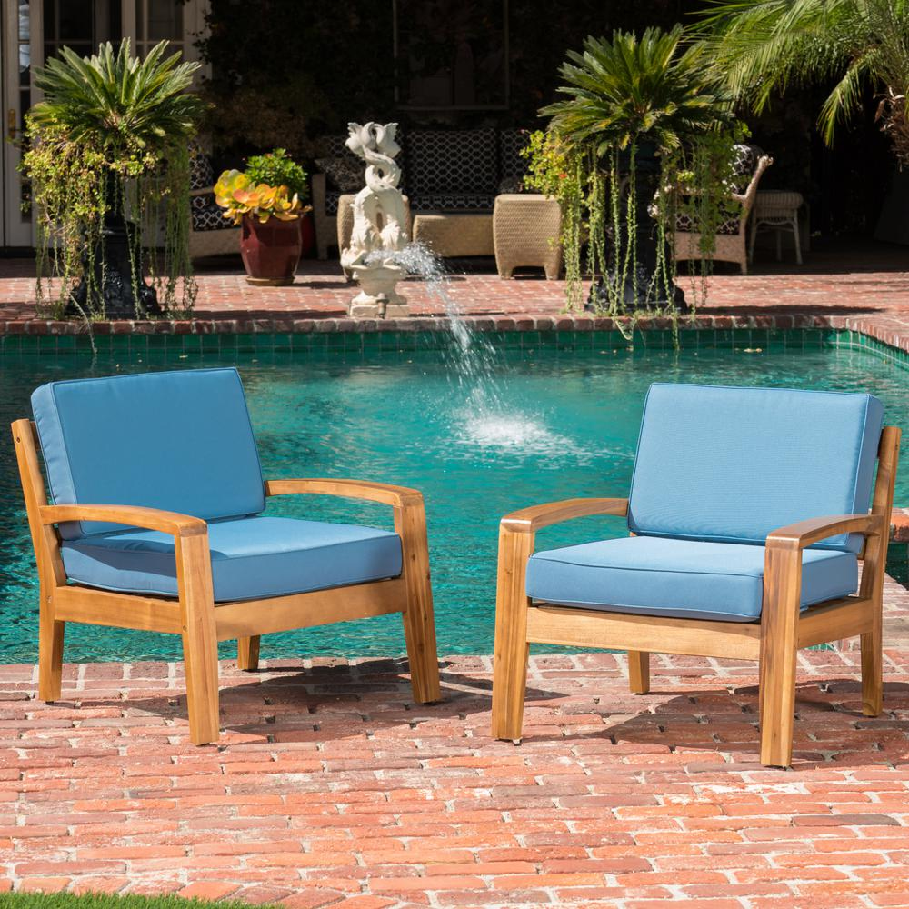Excellent Nobels House Teak Finish Wood Outdoor Lounge Chair With Blue Cushion Dailytribune Chair Design For Home Dailytribuneorg