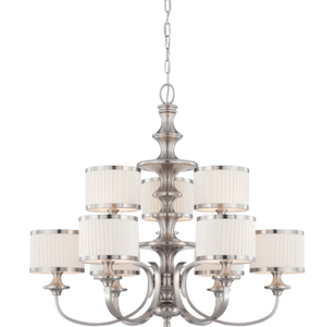 Nuvo Lighting Candice Brushed Nickel Nine-Light Chandelier w/Pleated White Shades