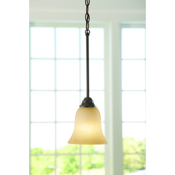 Portfolio Aged Bronze Single Craftsman Tinted Glass Bell Pendant Light (Model:  34798 LW049001-012018
