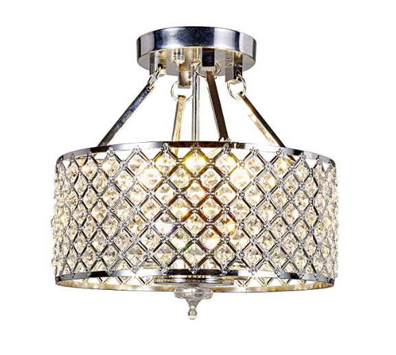 Top Lighting 4-light Round Metal Shade Crystal Chandelier Semi-Flush Mount Ceiling Fixture