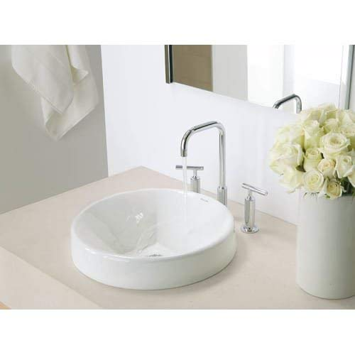 KOHLER Inscribe Cast Iron Almond Wading Pool Bathroom Sink (Model: K-2388)