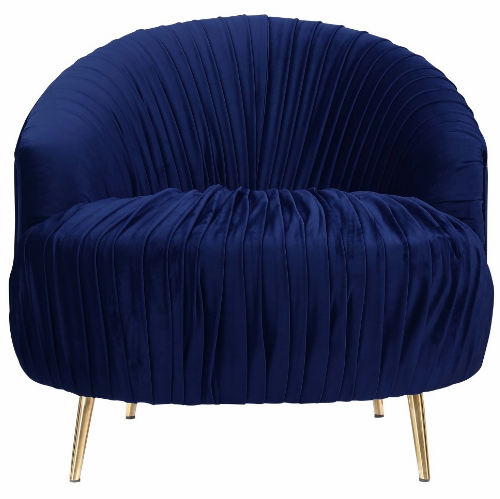 Picket House Penelope Navy Blue Fabric Ruched Accent Chair