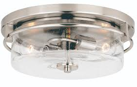 Vaxcel Addison 2-Light Flush Mount, Satin Nickel Finish with Clear Seeded Glass (Model: C0169)