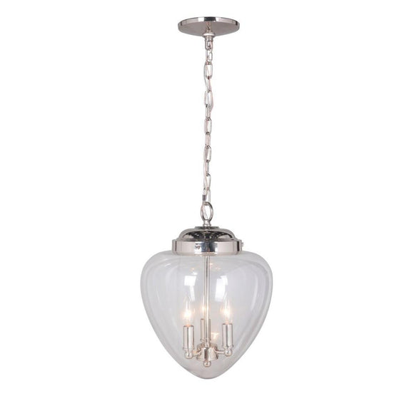 Worth Home Pendant Series 3-Light Brushed Nickel Mini Chandelier Pendant (Model: PBCW-1131)