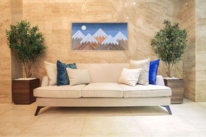 "Snowy Night Mountain Wood Wall Art - 26""x50"""
