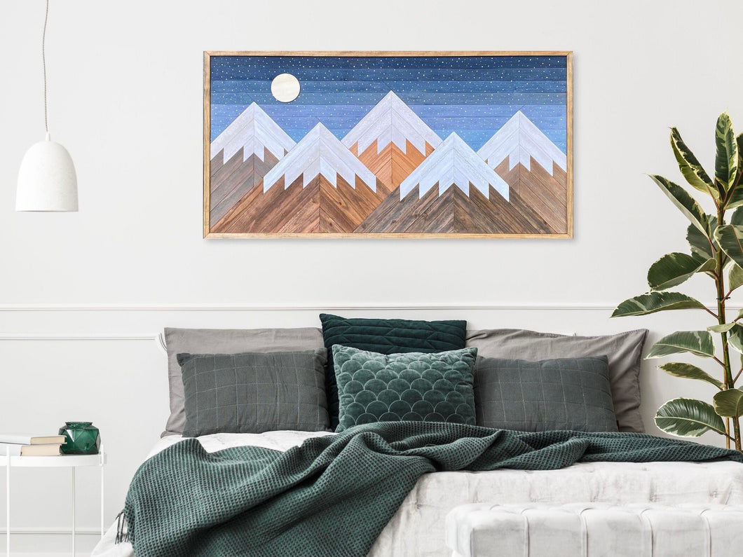 Snowy Night Mountain Wood Wall Art - 26