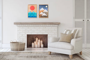 "Beach Days and Mountain Nights Wood Wall Art Set - two of 26""x18"""