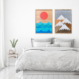 "Mountain and Ocean Wood Wall Art Set - two of 36""x26"""