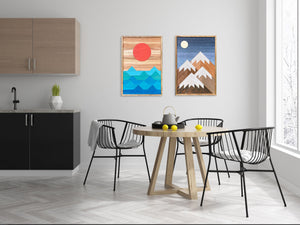 "Beach Days and Mountain Nights Wood Wall Art Set - two of 32""x22"""