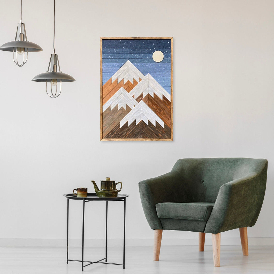 Snowy Night Mountain Wood Wall Art - 36