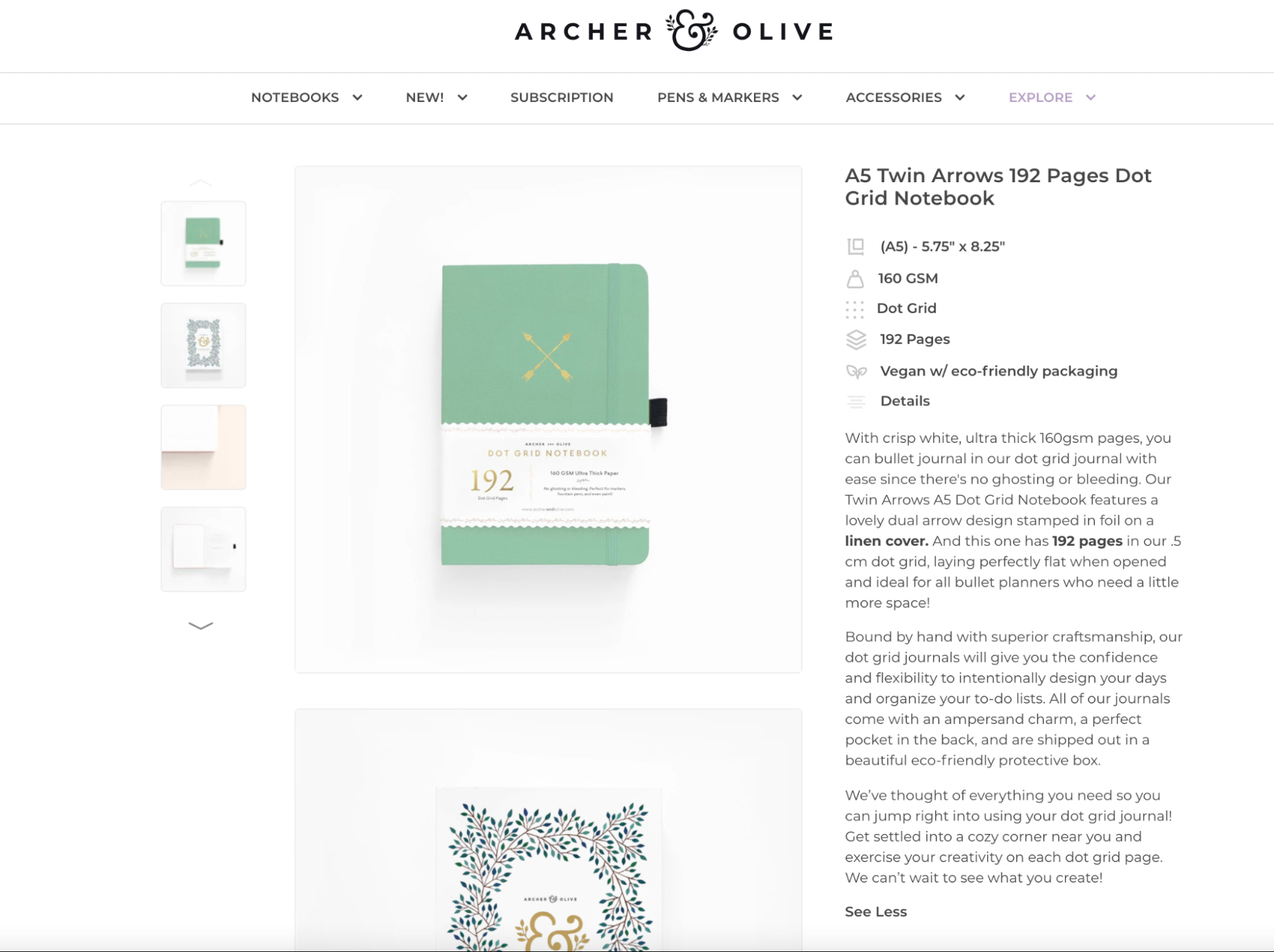 Homepage copywriting featured on Archer and Olive, a bullet planner-style ecommerce store.