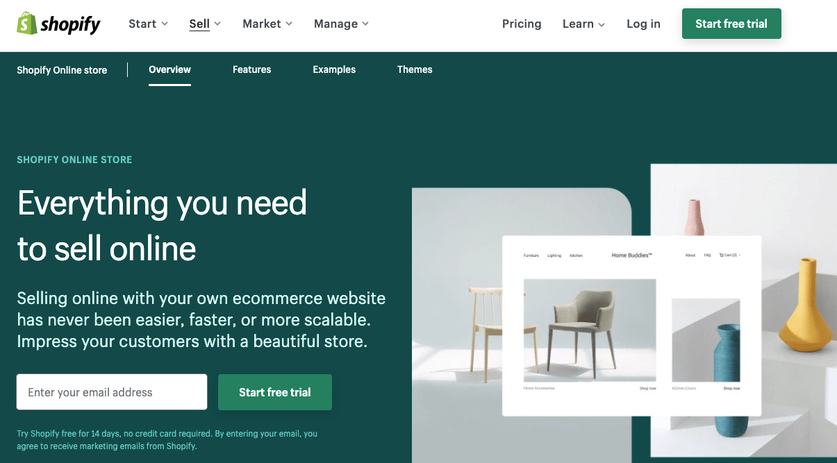 Screenshot of the Shopify website homepage