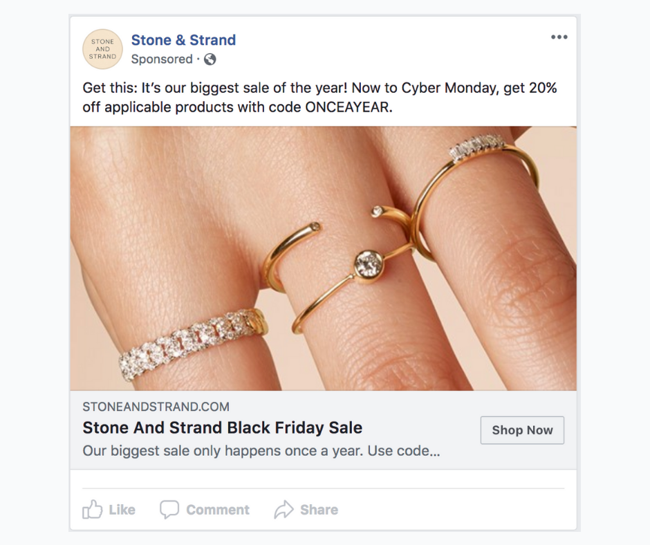 Single image ad on Facebook.
