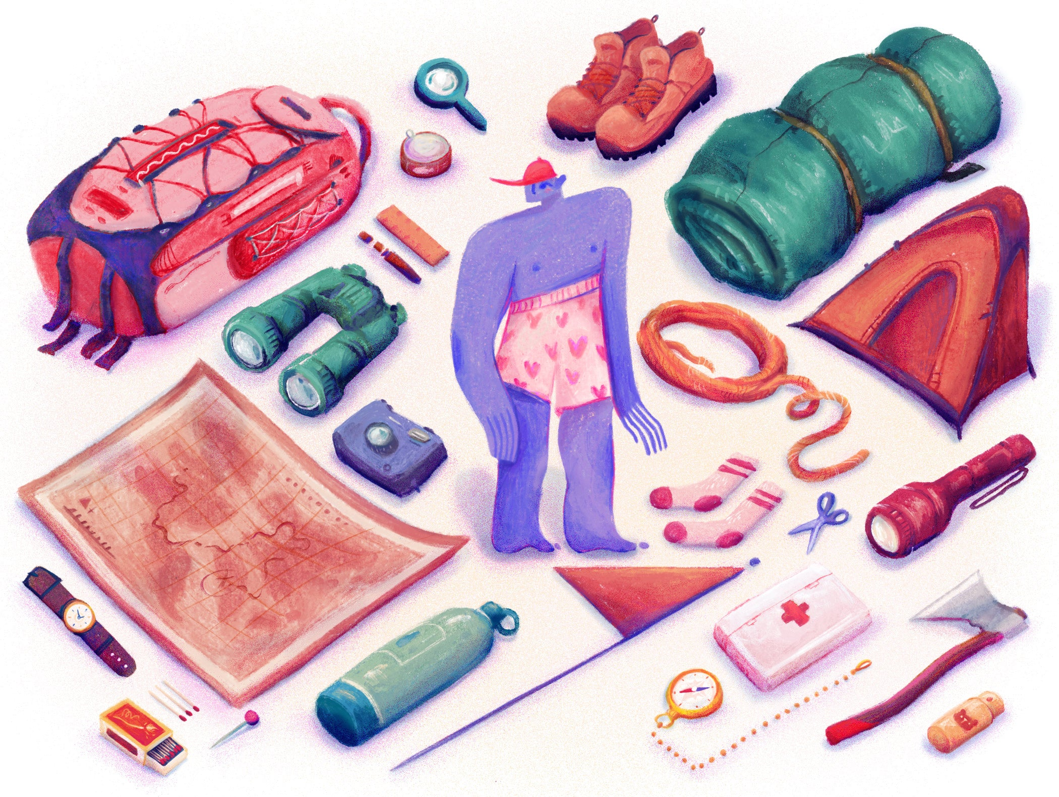 Illustration of a person glancing at a collection of tools in their backpack