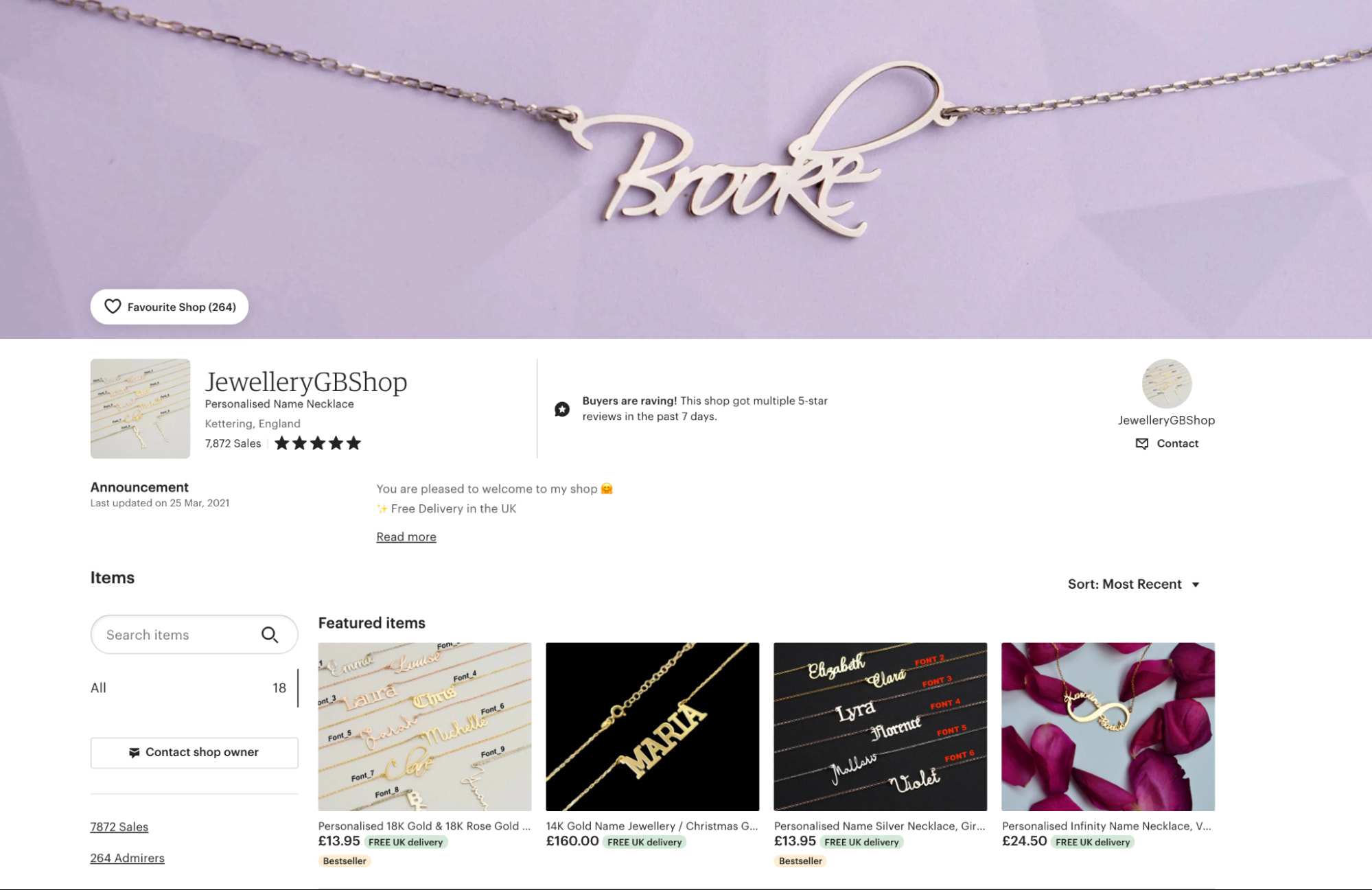 A custom storefront design on the Etsy marketplace can include a banner and feature products.