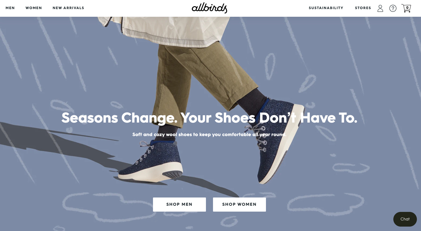 Web design example from Allbird's homepage.