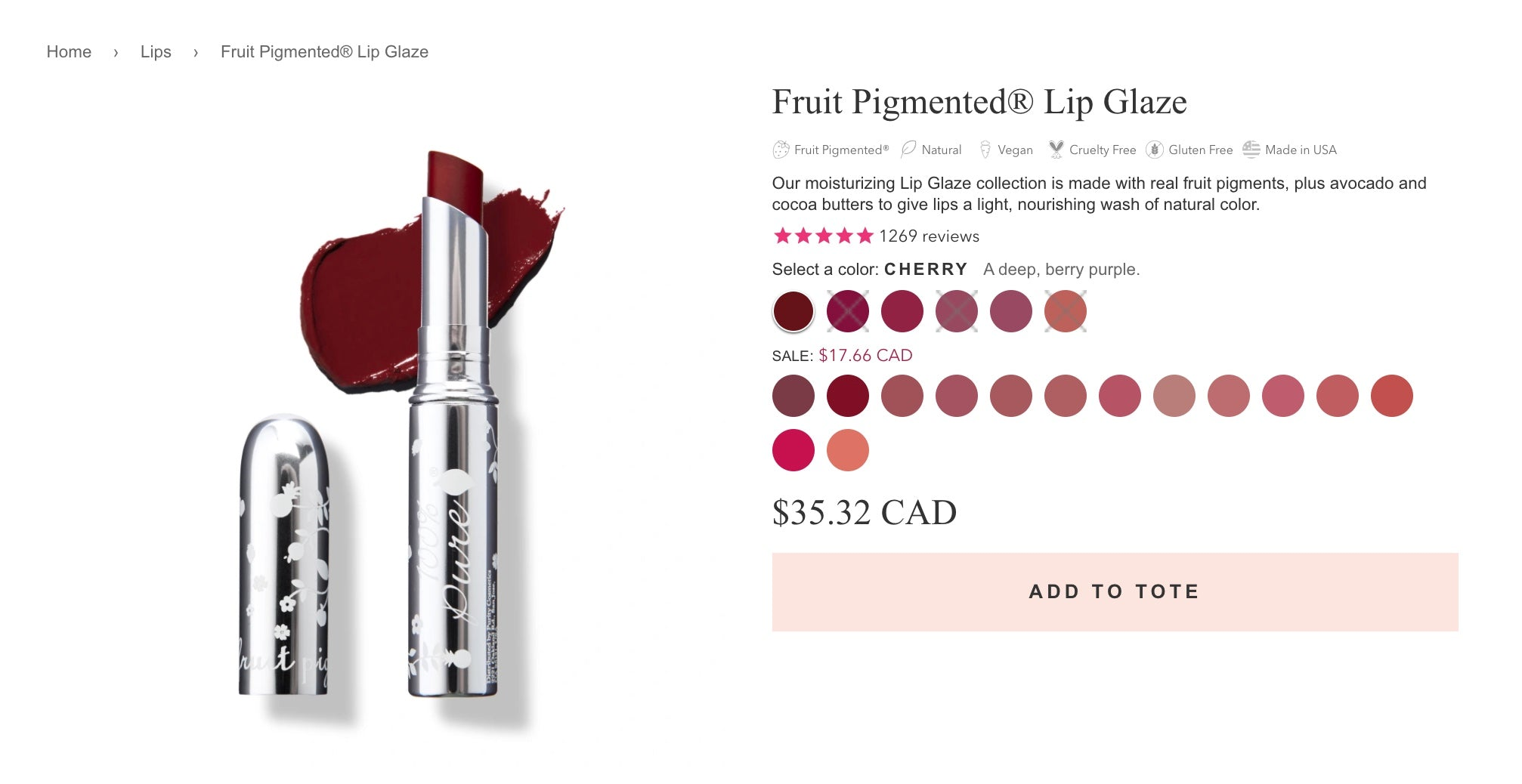 100% Pure product page screengrab featuring a lip stain