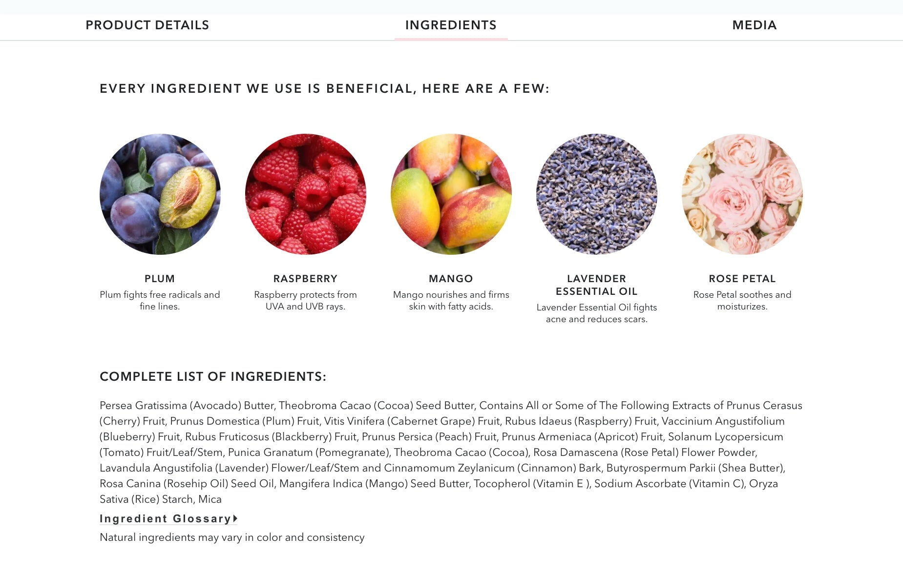 100% Pure product page screengrab featuring product and ingredient info