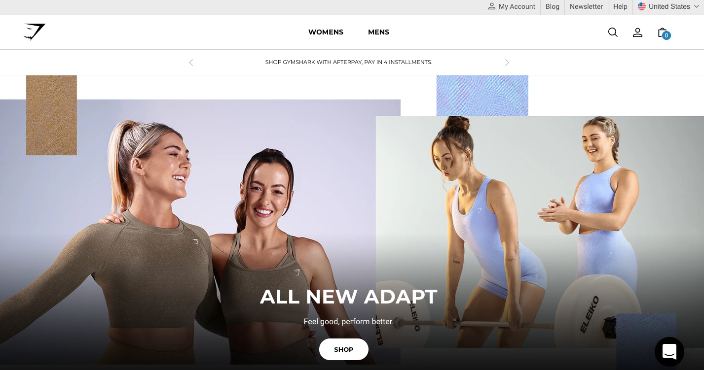 A homepage example from Gymshark, a famous direct-to-consumer brand
