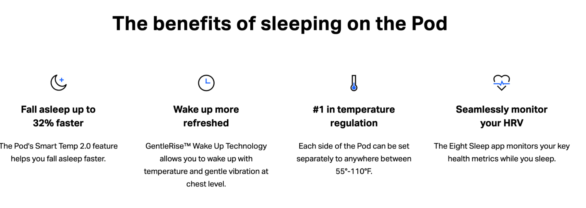Eight Sleep focuses on benefits over features in their copywriting.