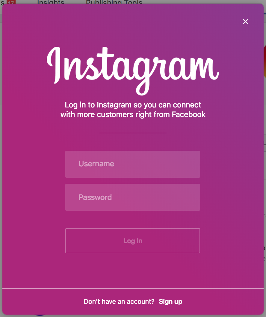 Instagram login.