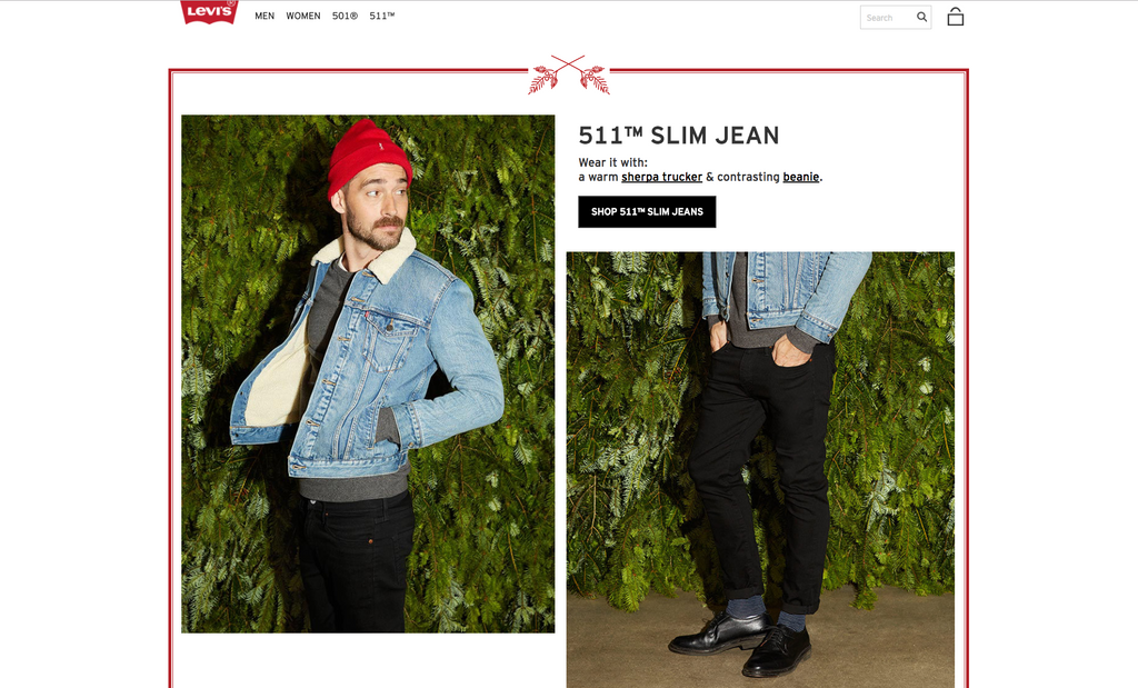 Screenshot of Levi's lookbook