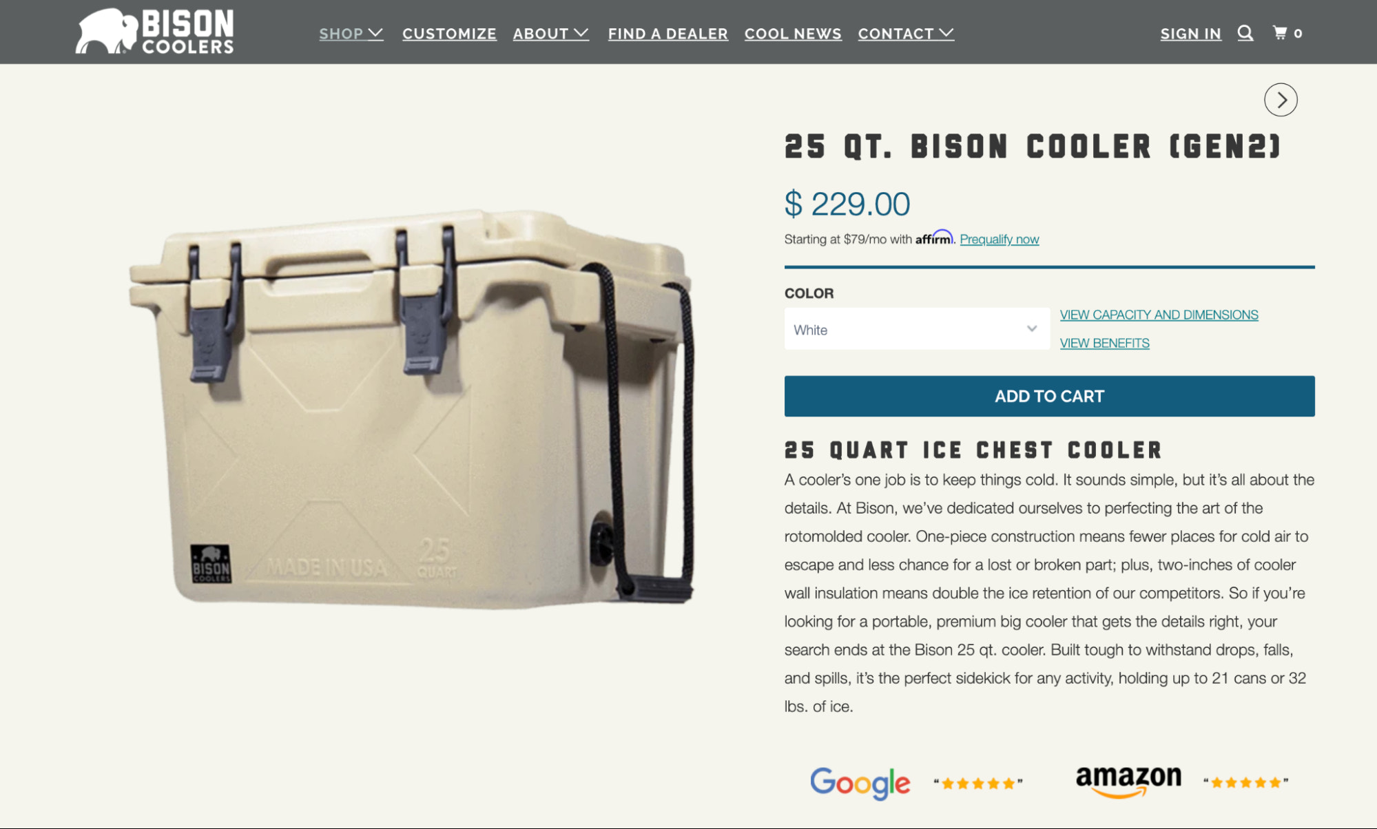 Copywriting featured on a product page for Bison Coolers.