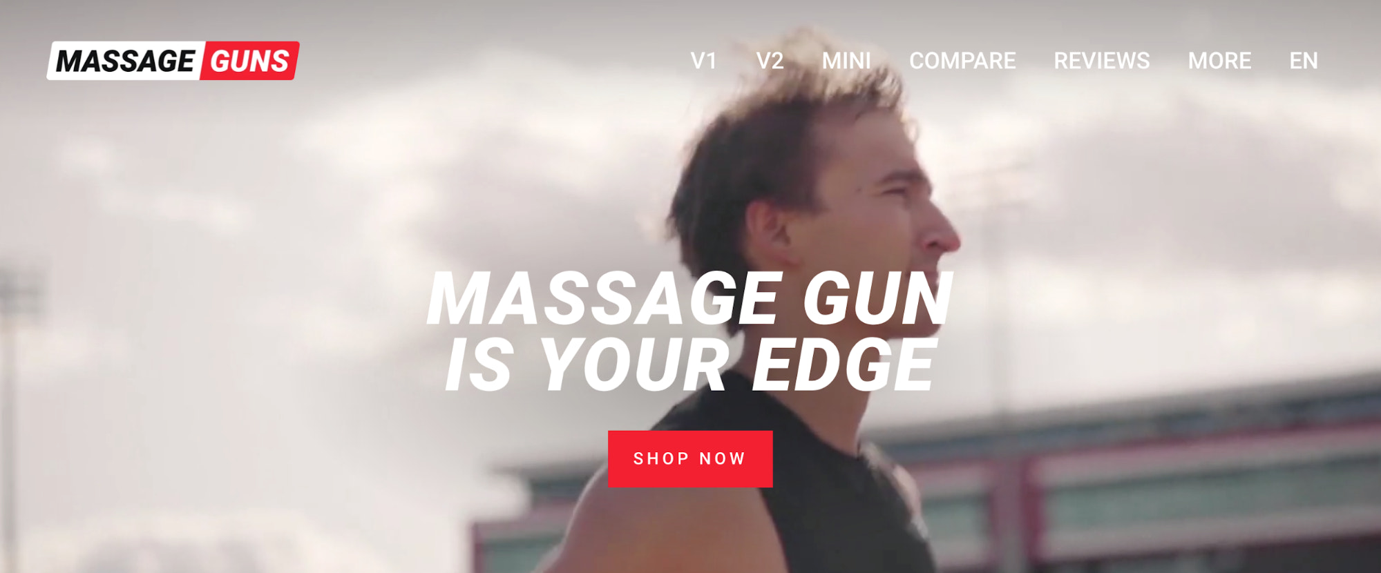 Homepage of Massage Guns, featuring their video which showcases the product