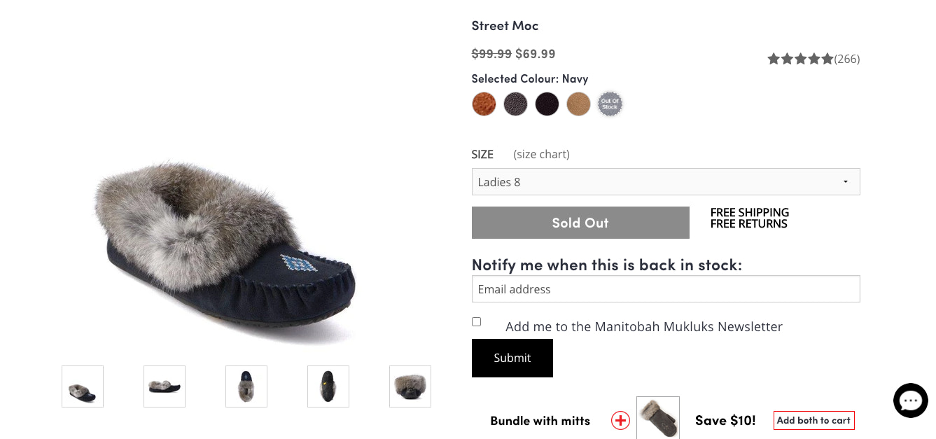 Product page for Manitobah Mukluks that lets shoppers sign up to be notified when the product is back in stock